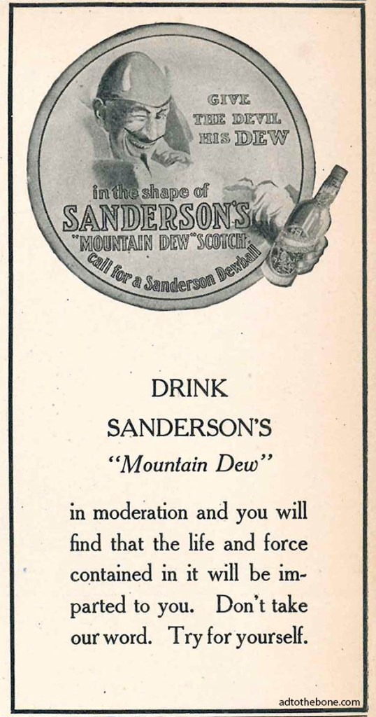 Magazine ad for Sanderson's Mountain Dew Scotch circa 1906/1907