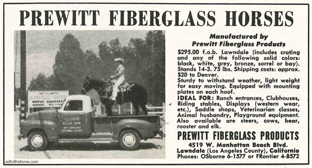 Magazine ad for Prewitt Fiberglass Horses found in the May 1963 issue of Western Horseman