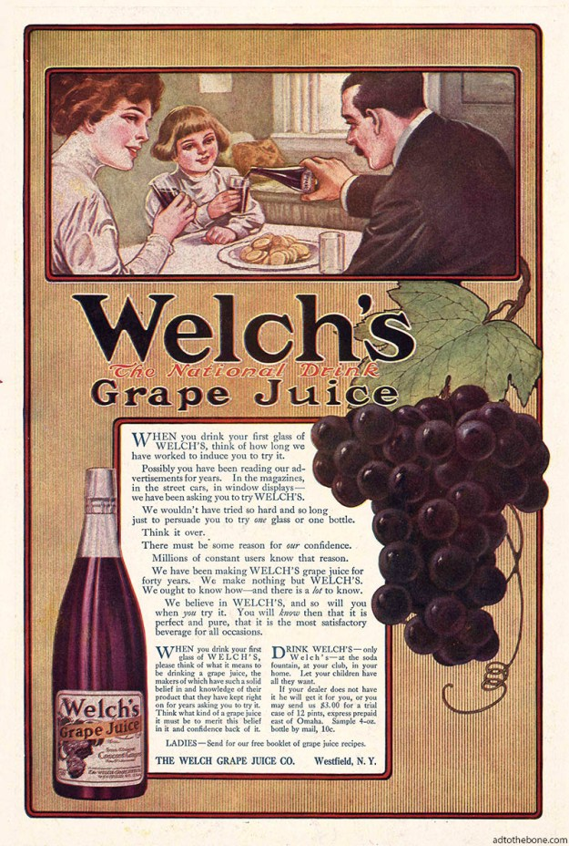1911 magazine ad for Welch's Grape Juice