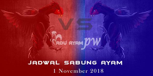 Jadwal Sabung Ayam 1 November 2018