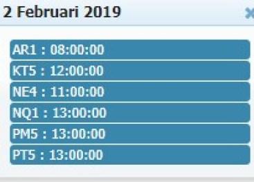 Jadwal Sabung Ayam 02 Febuary 2019