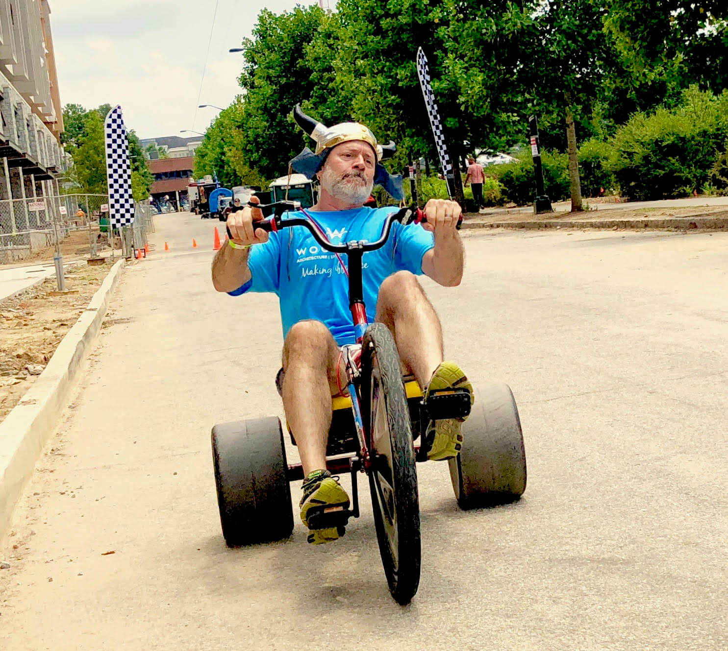 Team Building custom event with adult big wheel club , viking hats are optional