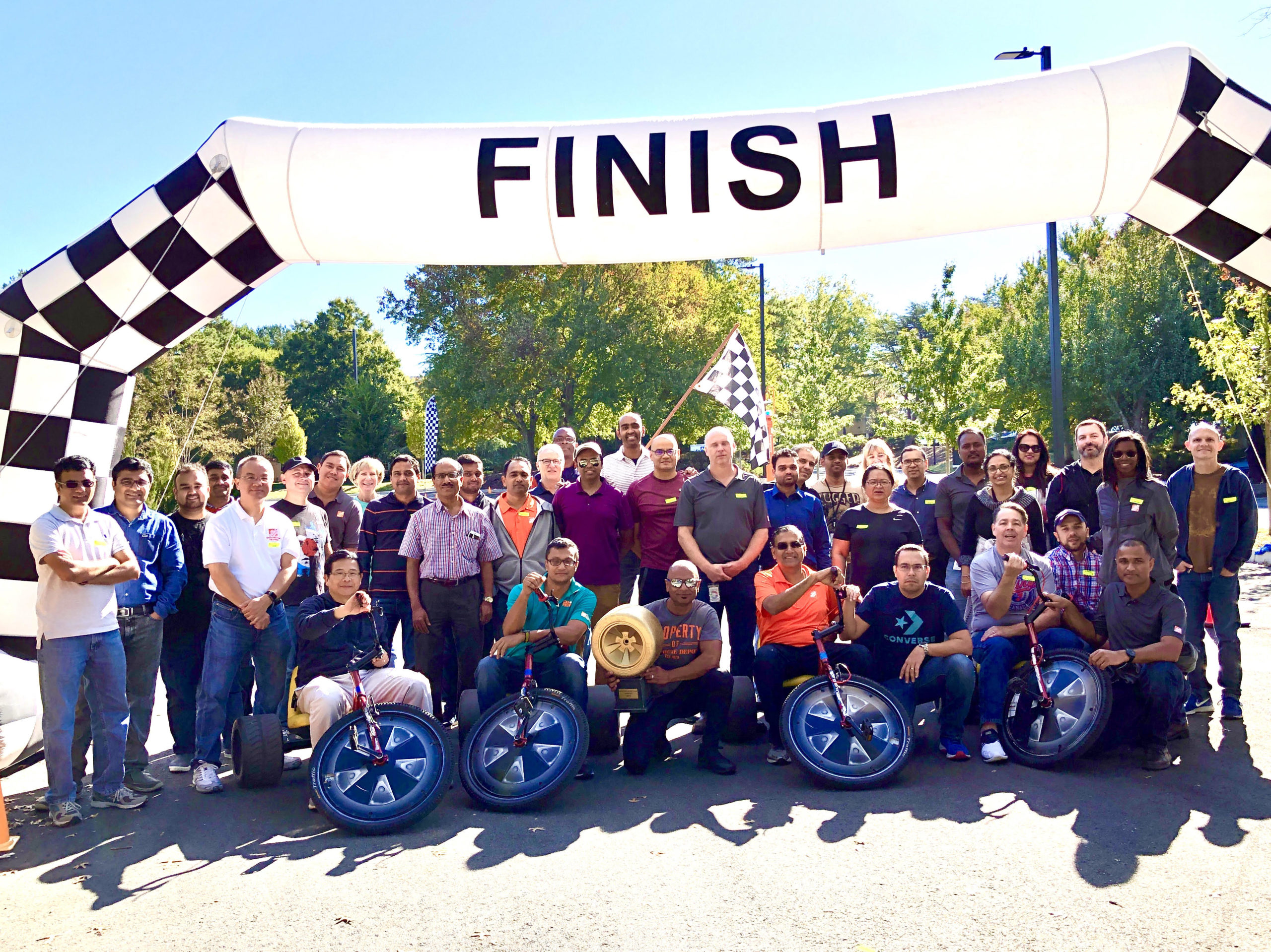 fun team building event for a large group at Home Depot, and one luck team got the Golden Wheel Trophy