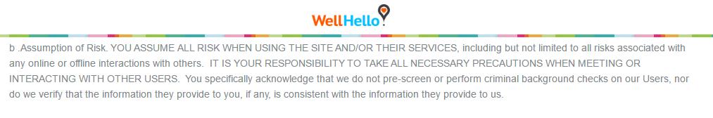 WellHello.com user risk