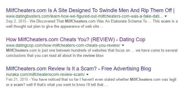 Milfcheaters.com poor online reviews