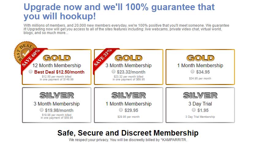 SocialSex.com Costs