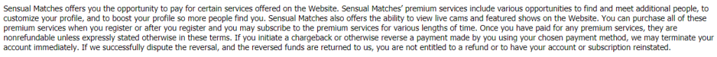 Sensual Matches fees