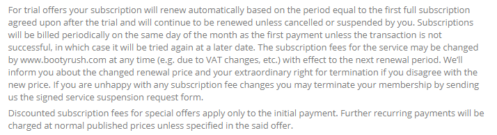 booty rush fees