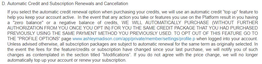 AshleyMadison.com automatic credits