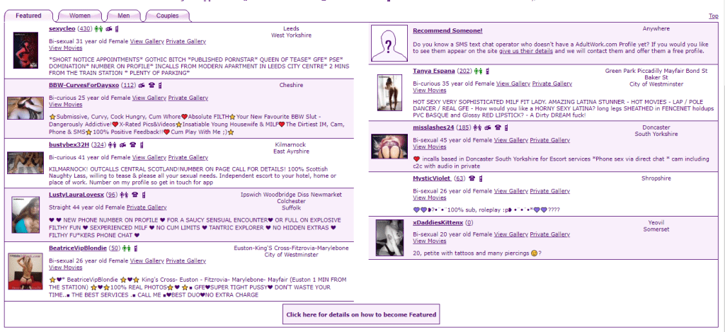 AdultWork.com Review Featured Profiles