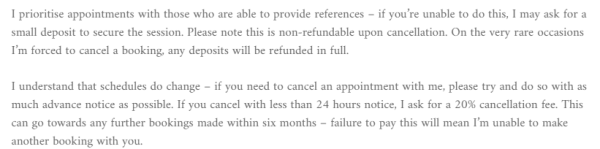 Kinky London Escorts Review fee cancelation