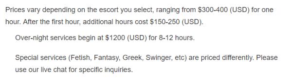 Playa Escorts Review extra fees