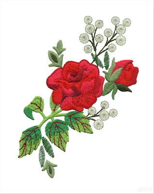 Bordir Mawar Merah