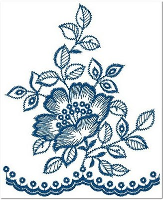 Bordir bunga teratai