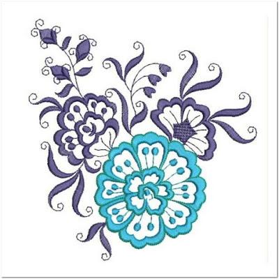 Contoh motif bordir bunga besar
