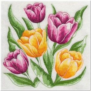 Motif Bordir Gambar Bunga Tulip