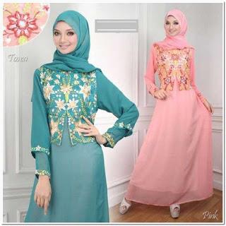 Model baju gamis motif bunga kombinasi polos