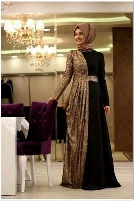 Contoh Gaun malam hijab