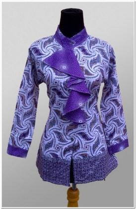 Contoh Desain baju batik lengan panjang modern wanita muda