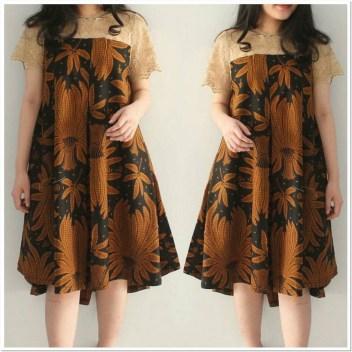 Contoh Model dress batik untuk orang gemuk