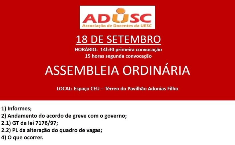 ADUSC convoca assembleia para próxima sexta-feira (18)