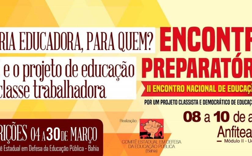Inscrições prorrogadas para o Encontro estadual de luta pela educação