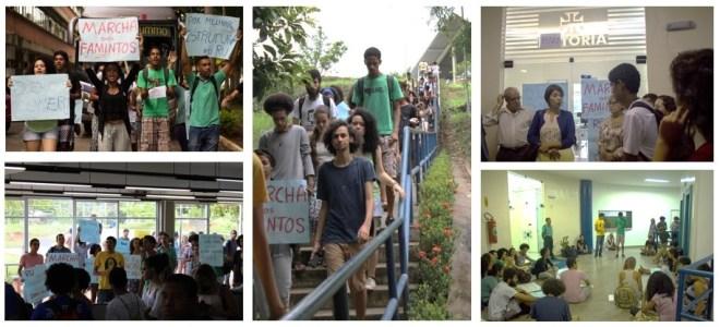 """""""Marcha dos Famintos"""" exigiu melhorias no Restaurante universitário (RU). Fotos: ADUSC e """"Estudantes da UESC em Luta"""""""