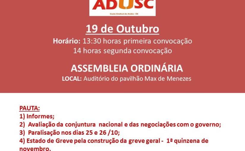 Assembleia pautará paralisação das atividades acadêmicas nos dias 25 e 26 de outubro