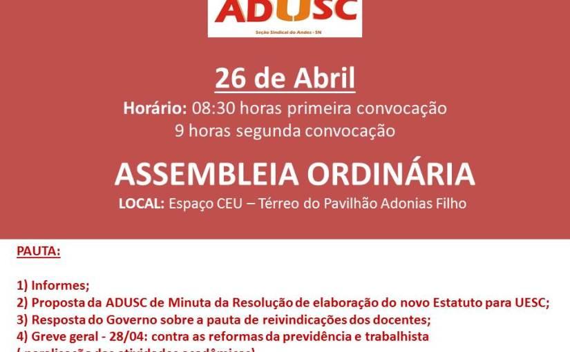Assembleia da ADUSC pautará Estatuinte e Greve Geral nesta quarta-feira (26)