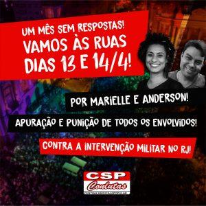 30 dias da execução de Marielle e Anderson: CSP-Conlutas convoca jornada de lutas em 13 e 14 de abril