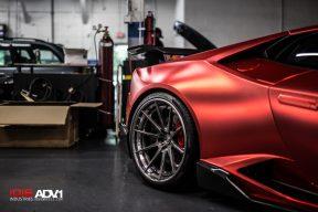 Satin Red Huracán With 1016 Aero And ADV10 Wheels
