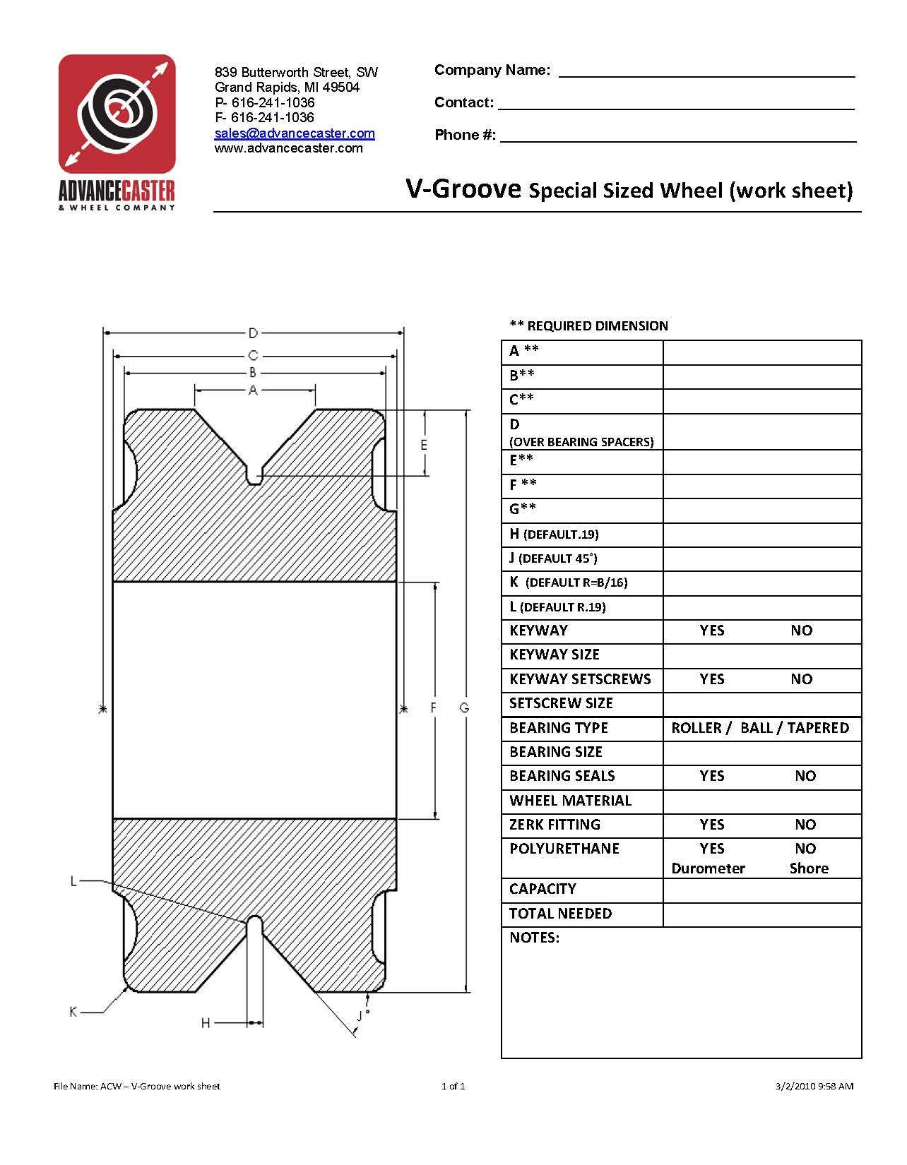 V Grooved Wheel Worksheet