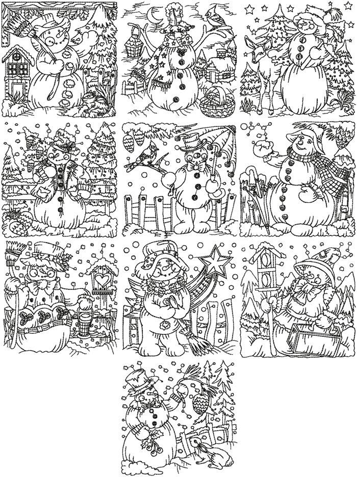 Advanced Embroidery Designs One Color Snowmen Set