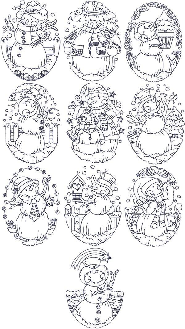 Advanced Embroidery Designs Redwork Snowman Set