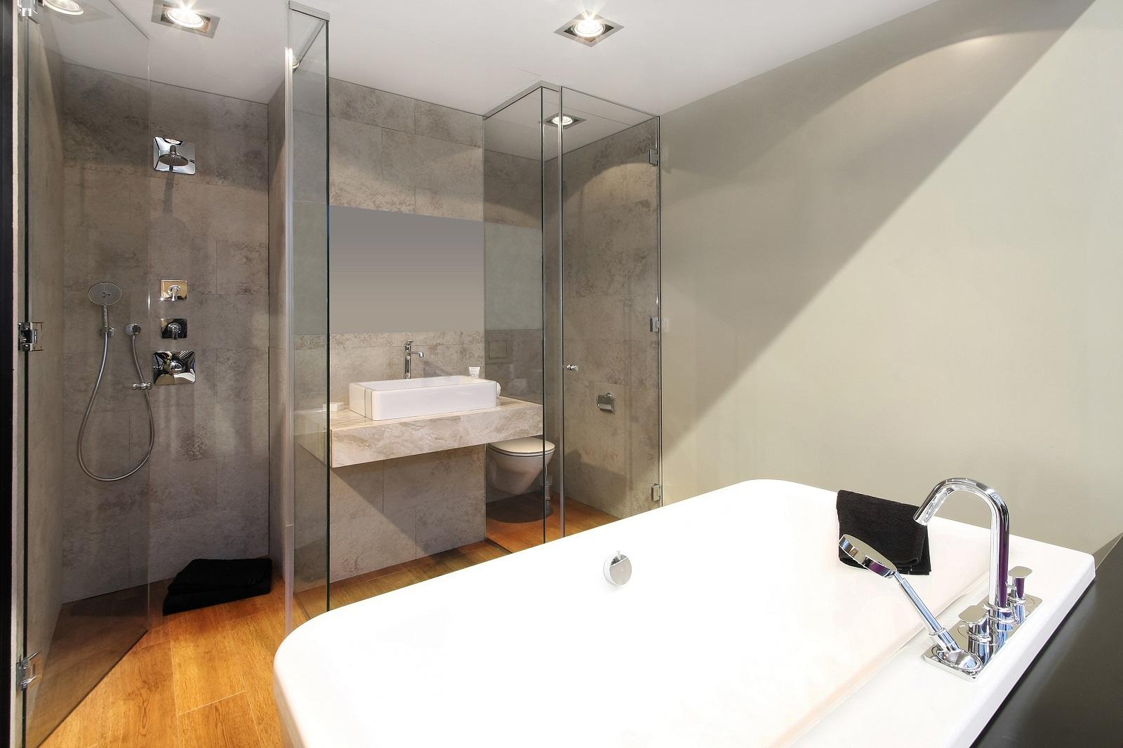 bathroom glass door vs shower curtain