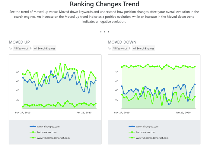 Ranking changes trend report in Advanced Web Ranking.