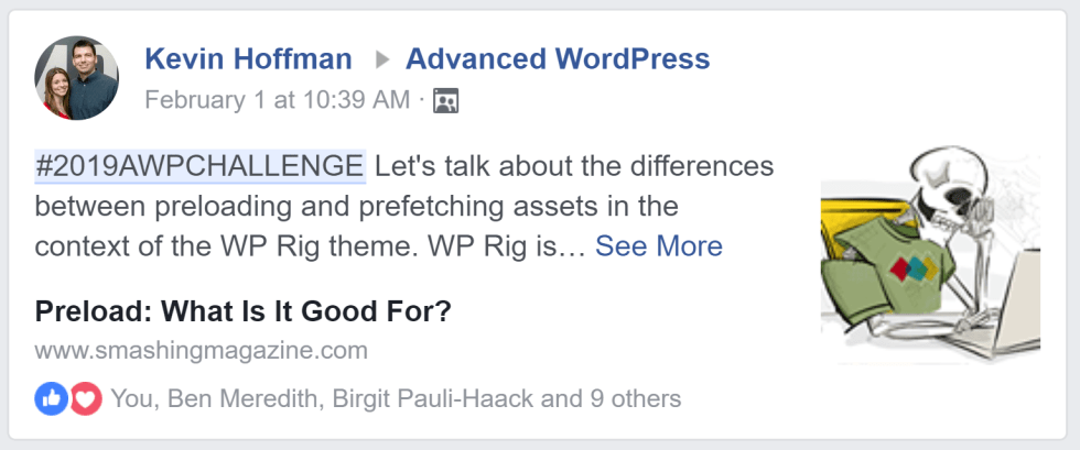 A screenshot of Kevin Hoffman's post in the Advanced WordPress Facebook group