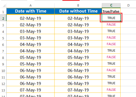 Identify the cells having date & time altogether