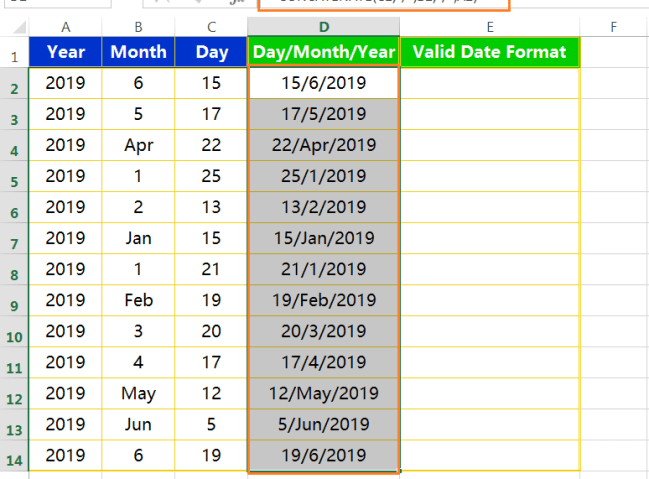 Text to column(Join days, months and years to form valid date formats)-3
