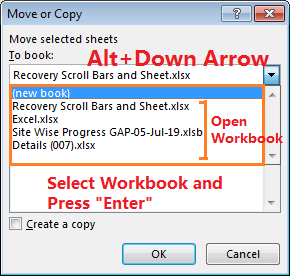 Move or Copy Tab by Excel Shortcut-3