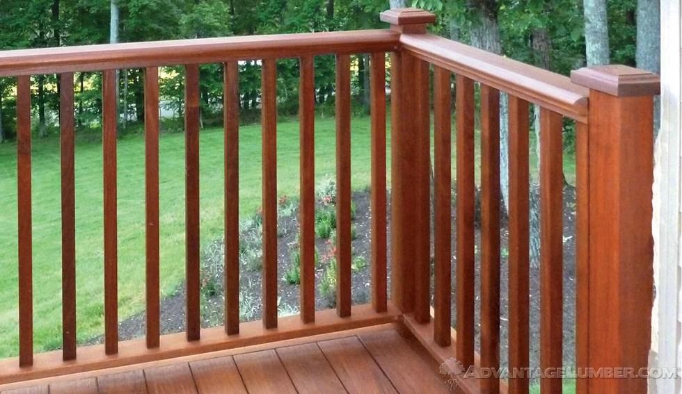 Ipe Decking Handrail Ipe Balusters   Wood Baluster Deck Railing   Temporary   Surface Mount   Pre Built   Side Mounted   Hardwood
