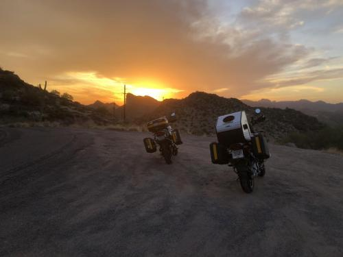 Two BMW motorcycles parked at Apache Trail, Arizona, USA
