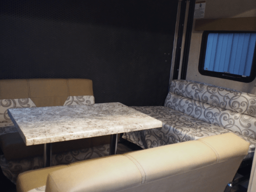 camper living space and dinette