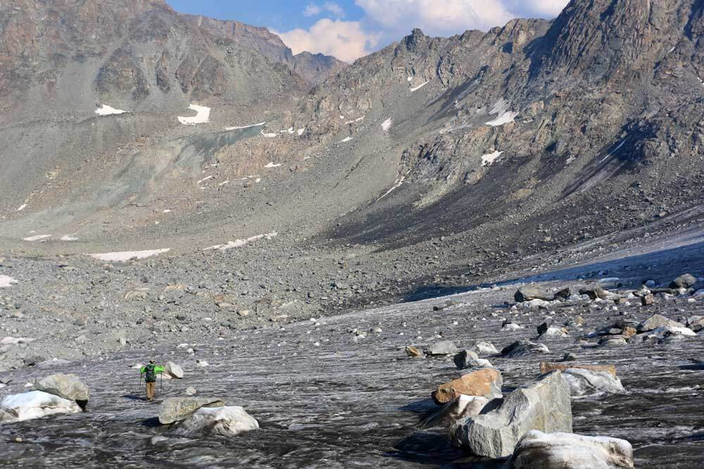 Approaching Knife Point Glacier from below Indian Pass. Our bivy site noted in the photo.
