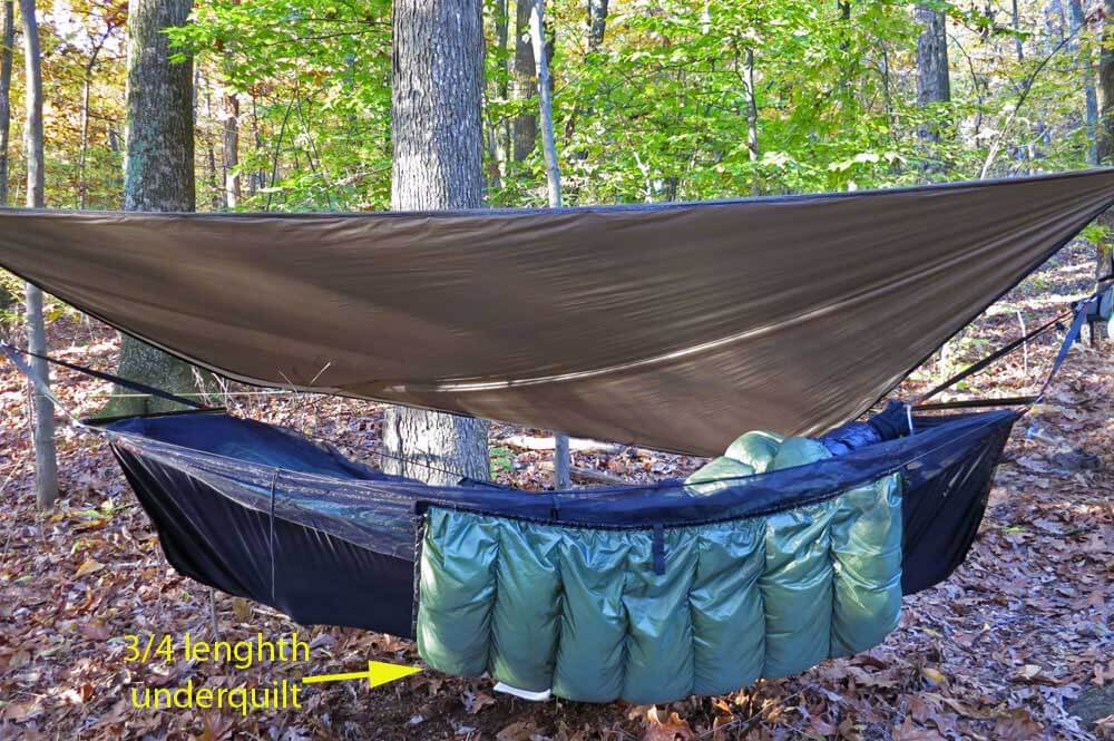 A good under quilt will make a critical difference for warmth and comfort. Some use a 3/4 length quilt and use a small pad under their feet, typically a foam sit-pad (which I prefer). Others opt for a full length under quilt.