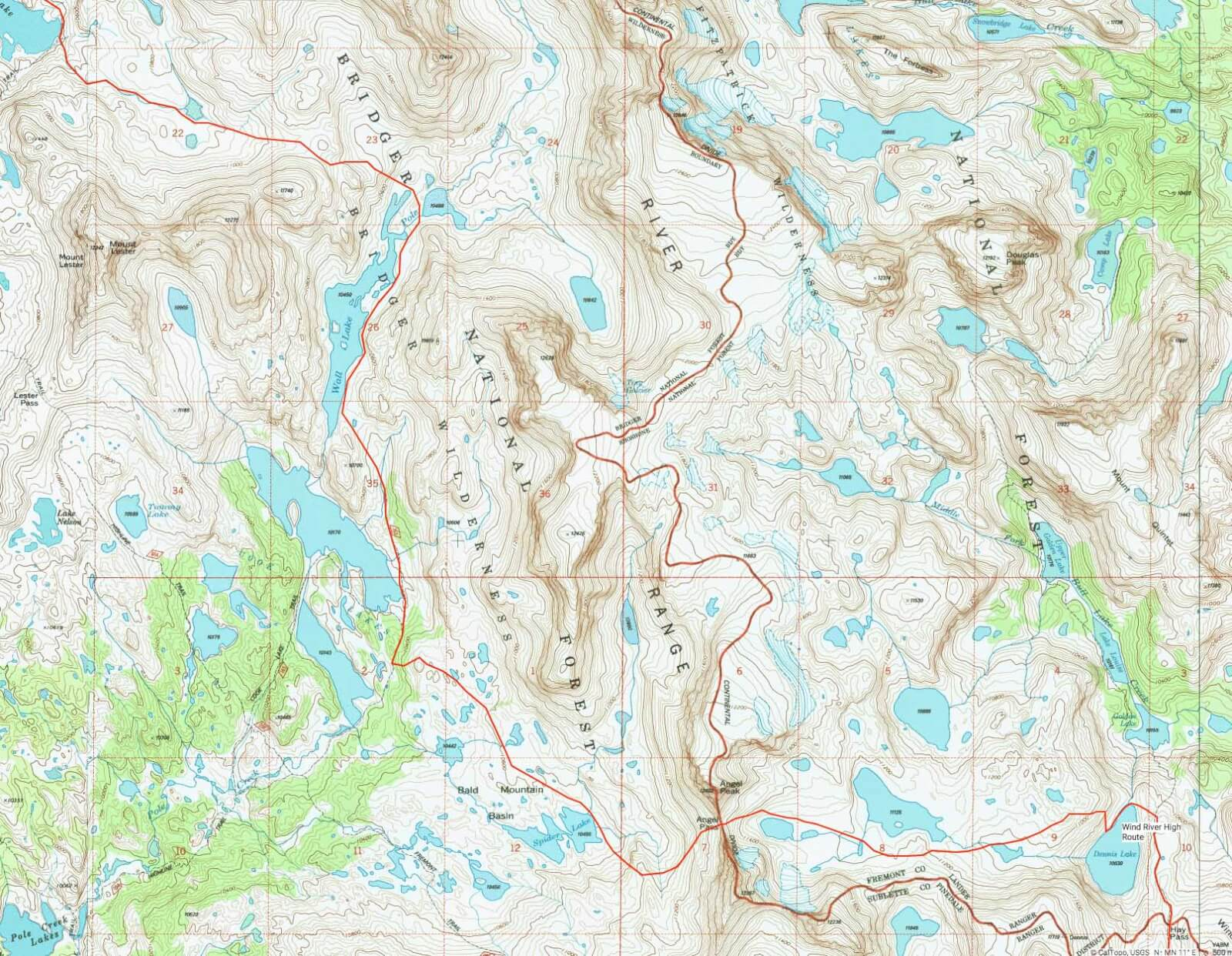 Wind River Range Wyoming Map.Wind River High Route A Guide Adventure Alan