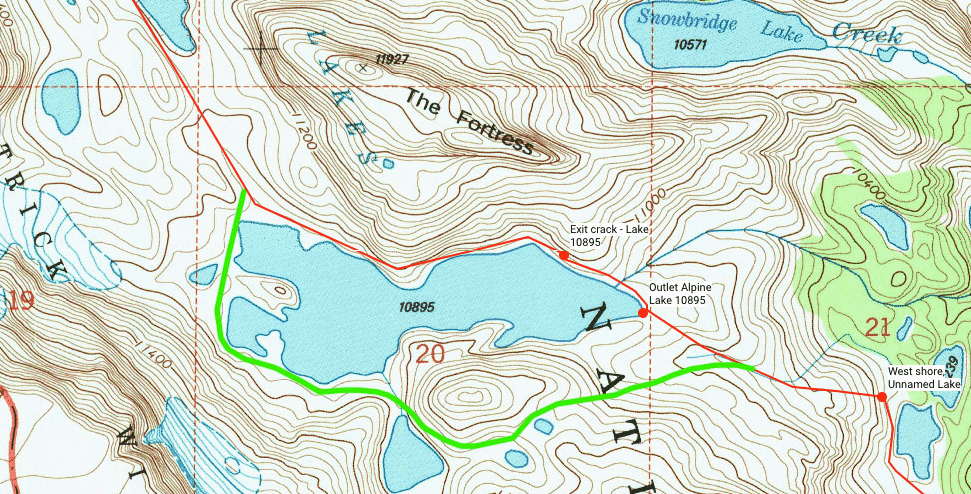 "Henry writes ""I concur that the south end of the lowest Alpine Lake is the way to go. I posted a small section of map with the regular (red) route and the alternate (green) route we took here. Much safer and easier route."""