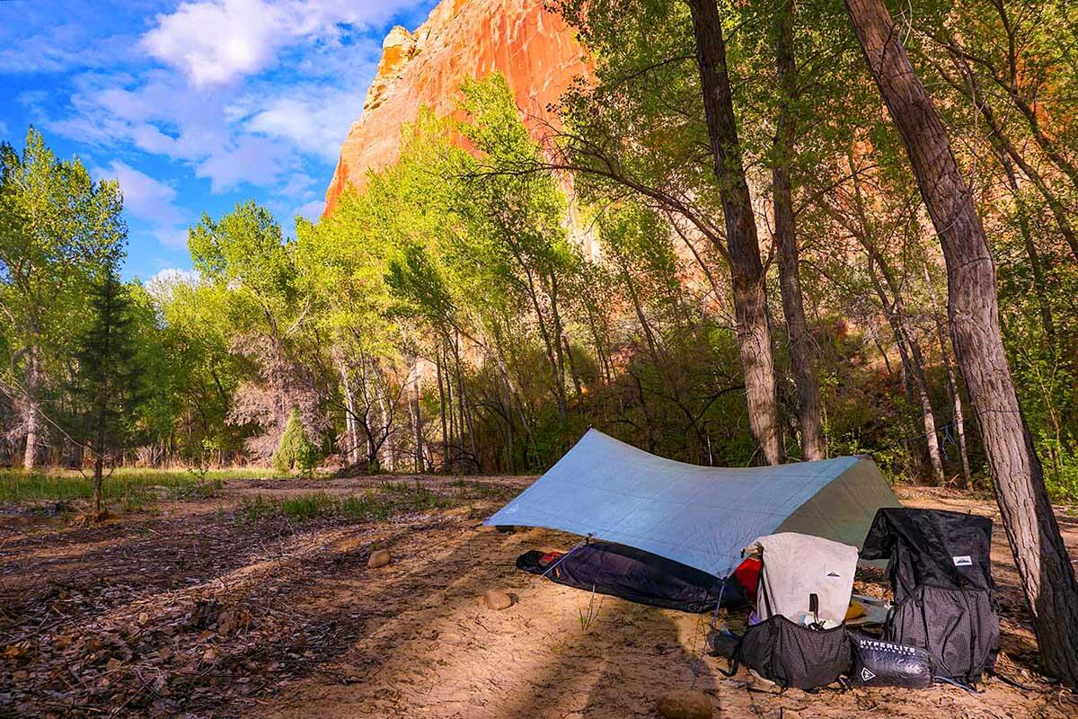 Tarps are perfect for the desert with its low chance of rain. They are a great way to save weight. I only set mine up when there is a slight chance of rain, otherwise it stays in my pack.