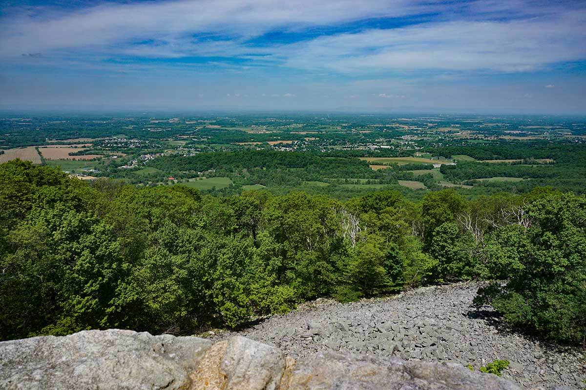 View from the top of the Washington Monument, looking west across the cumberland valley and the Potomac River.
