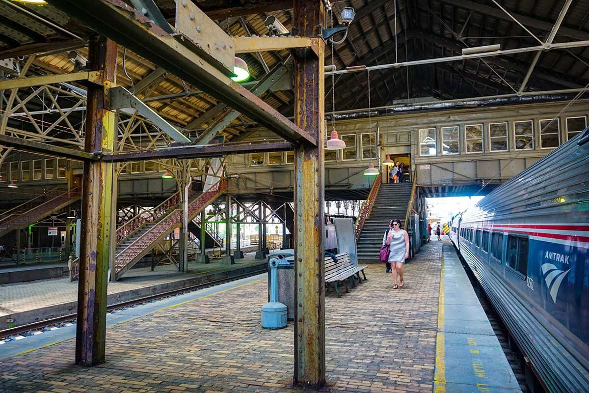 Bording the train in Harrisburg PA. It's a xx hour ride to the NE train hub of Philadelphia's 30th Street Station.
